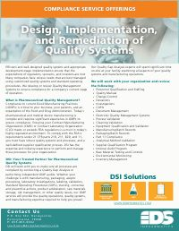 Design, Implementation and Remediation of Quality Systems