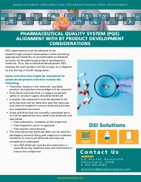Pharmaceutical Quality System Alignment with BT Product Development Considerations