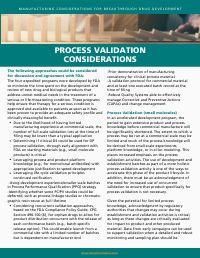 Process Validation Considerations