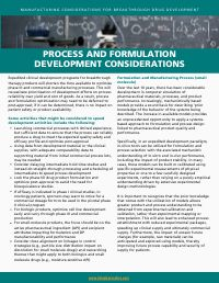 Process and Formulation Development Considerations